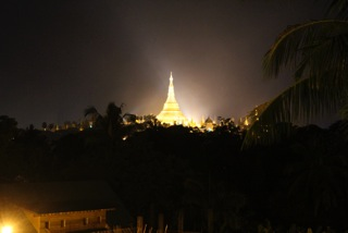 The famous Shwedagon Pagoda in Yangon at night