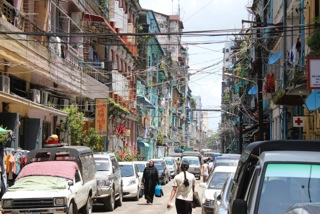 A typical street scene in Yangon, the largest city and former capital of Burma